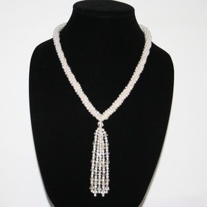 Vintage pearl tassel necklace